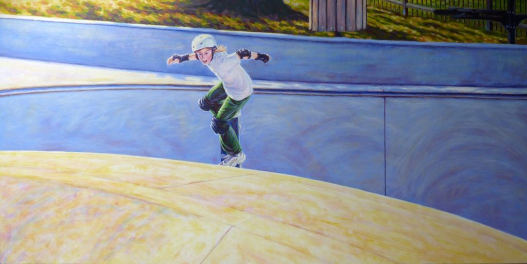 Sally Davies painting of skateboarder entering bowl.